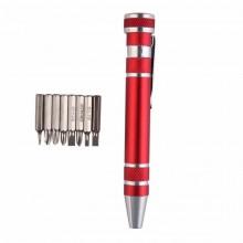 Отвертка ручка с набором из 8 бит - цвет красный